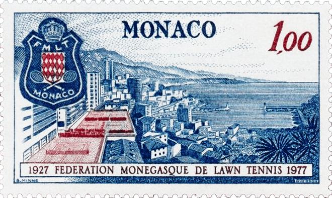 """Почтовая марка """"50 лет Федерации тенниса Монако"""", 1977 год"""