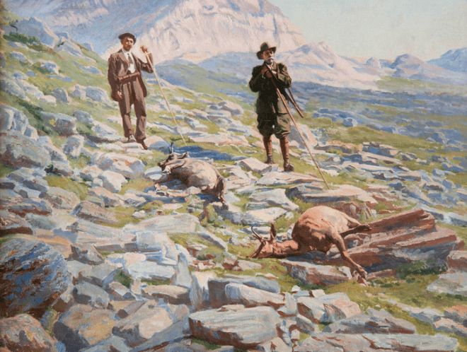 "Картина на выставке ""Князь на охоте"""