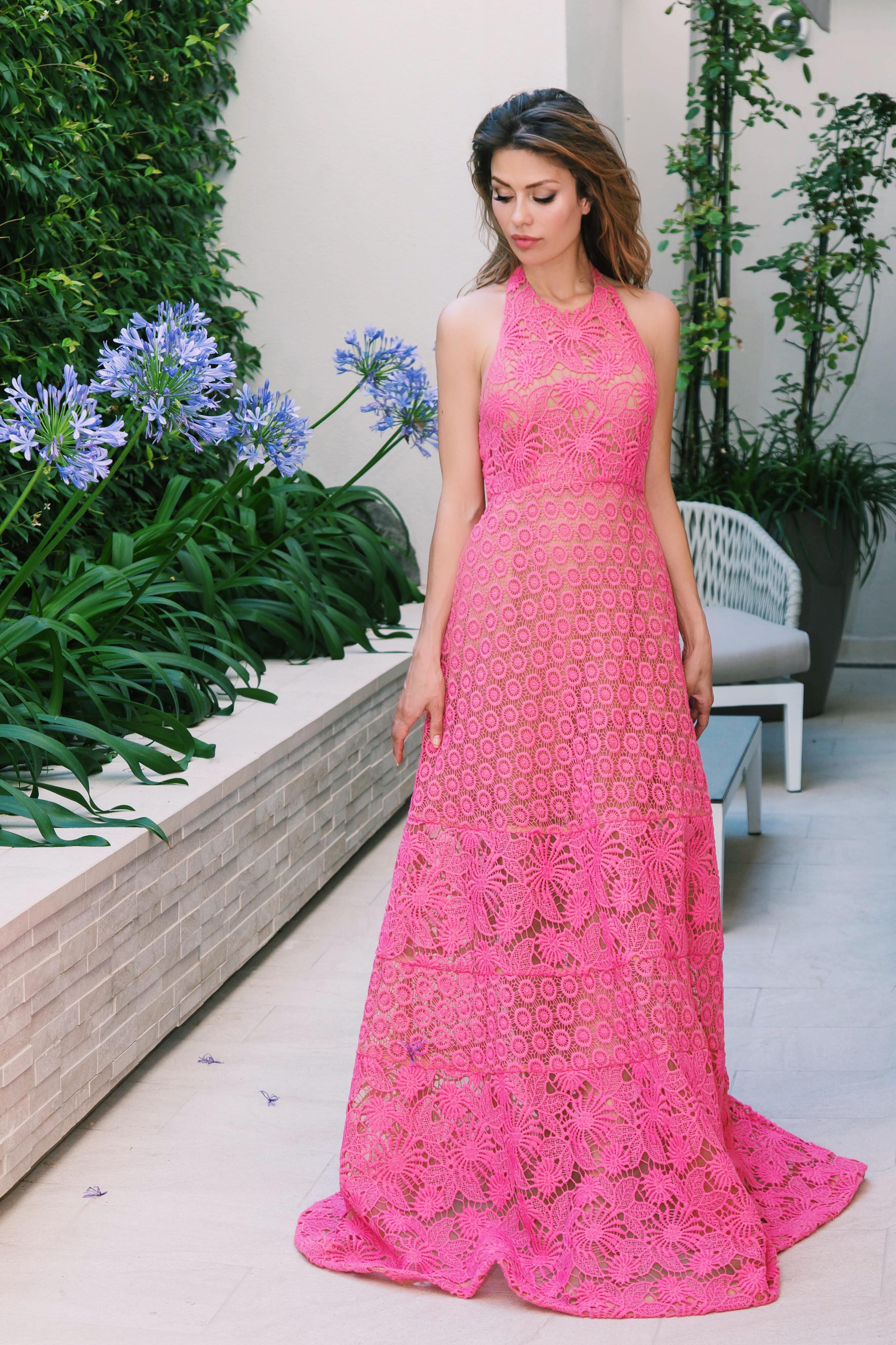 Розовое платье-сарафан ELIE SAAB