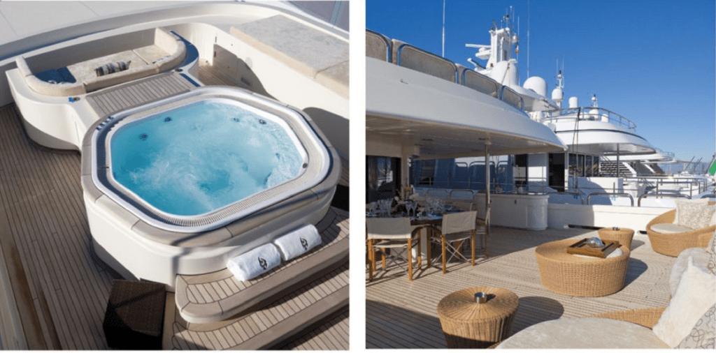 Лаунж-зона и джакузи на яхте Malibu