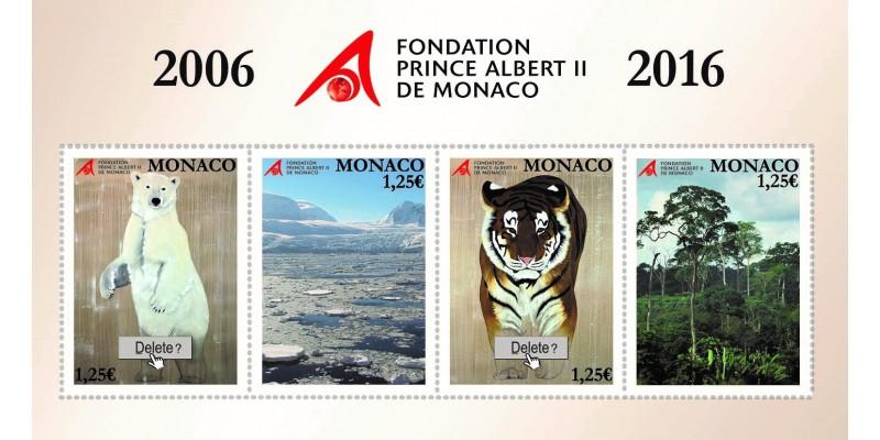 Набор марок к 10-летию Фонда Князя Монако