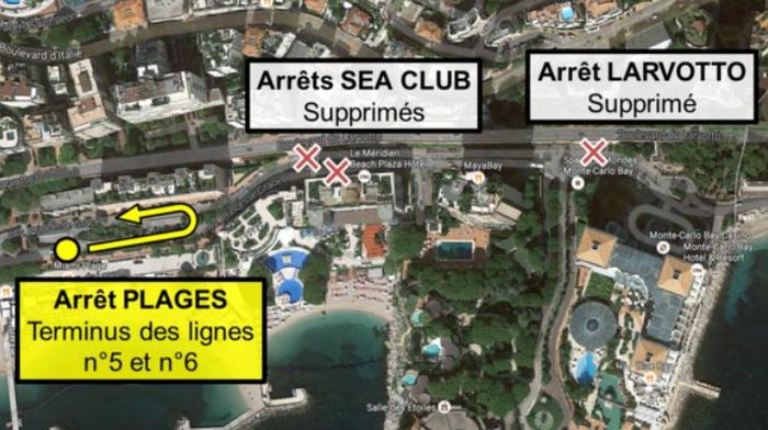 Закрыты остановки Sea-Club и Larvotto
