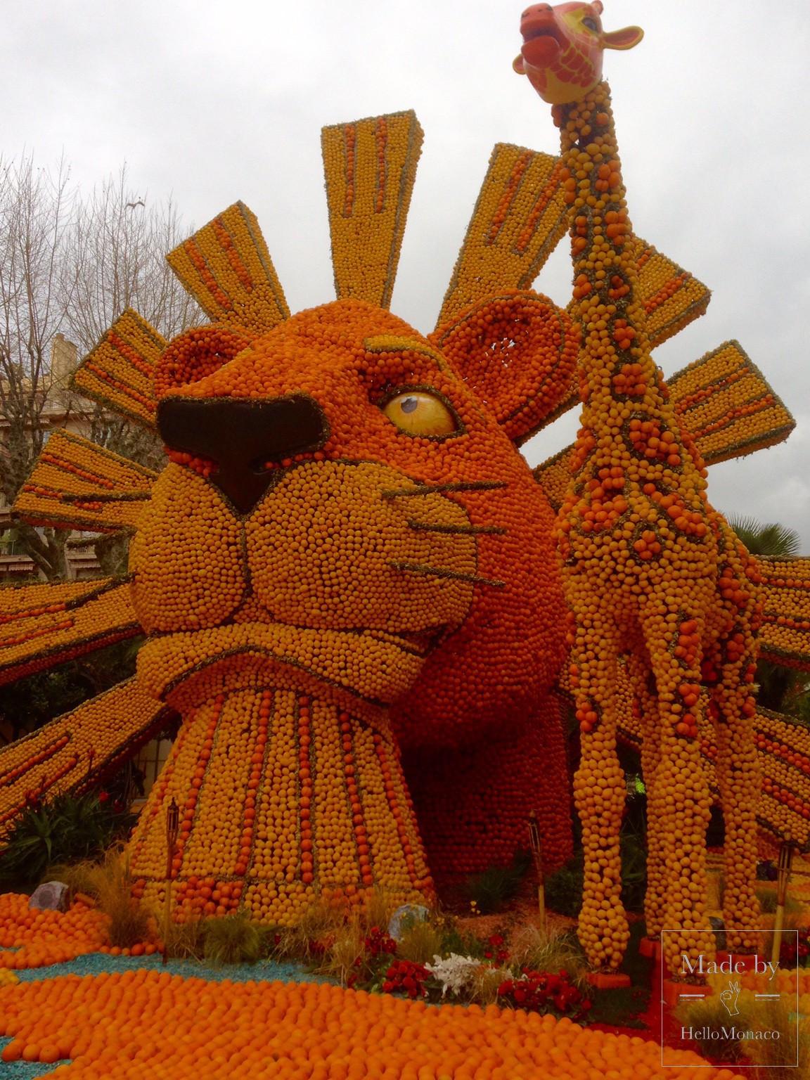 """Скульптура """"Король-лев"""" на Фестивале лимонов в Ментоне-2017"""