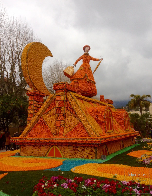 "Скульптура ""Мэри Поппинс"" на Фестивале лимонов в Ментоне-2017"