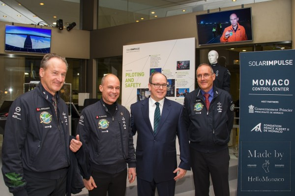 Князь Альбер II и команда Solar Impulse