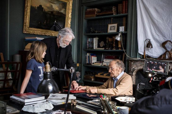 Михаэль Ханеке на съемках картины «Хэппи-энд»