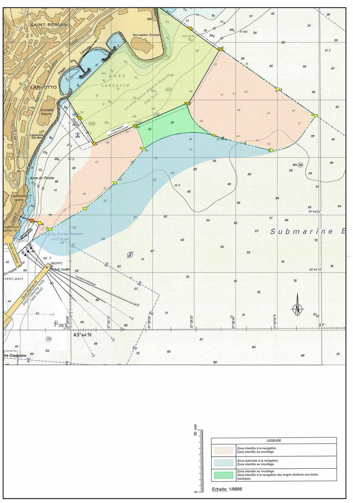 Согласно Суверенному приказу, опубликованному в официальной газете правительства Монако (Journal de Monaco) 20 апреля 2018 года, водная территория вокруг строительства квартала «Портье» будет условно разделена на четыре зоны.