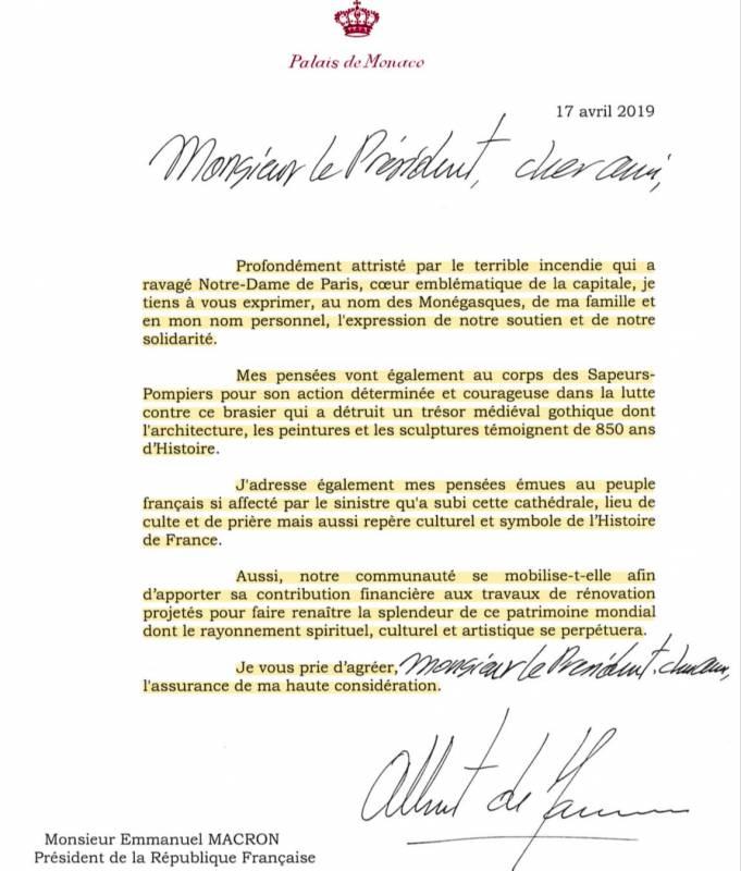 Трагедия Нотр-Дам де Пари: Монако скорбит вместе с Францией